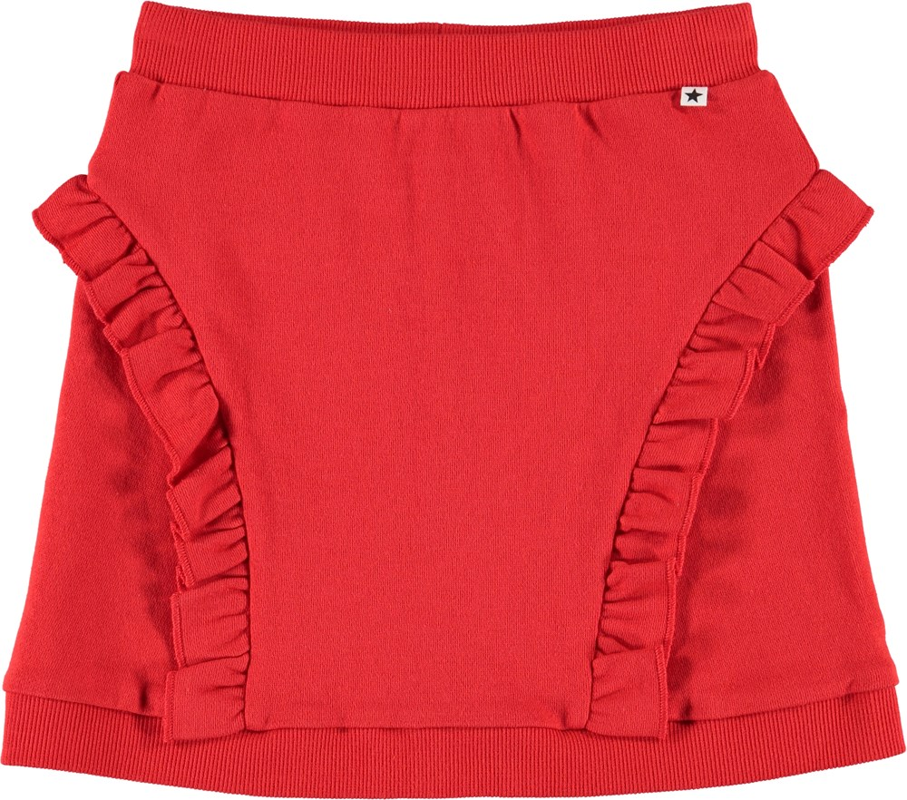 Beverly - Chili - Skirt with a ruffle edge.