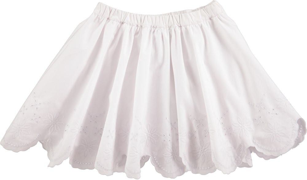 Billie - White - White skirt with embroidery