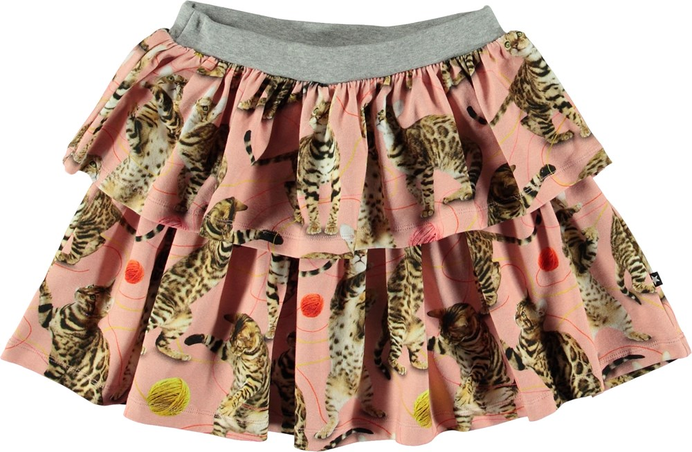 Bini - Wannabe Leopard - Pink skirt with cats.