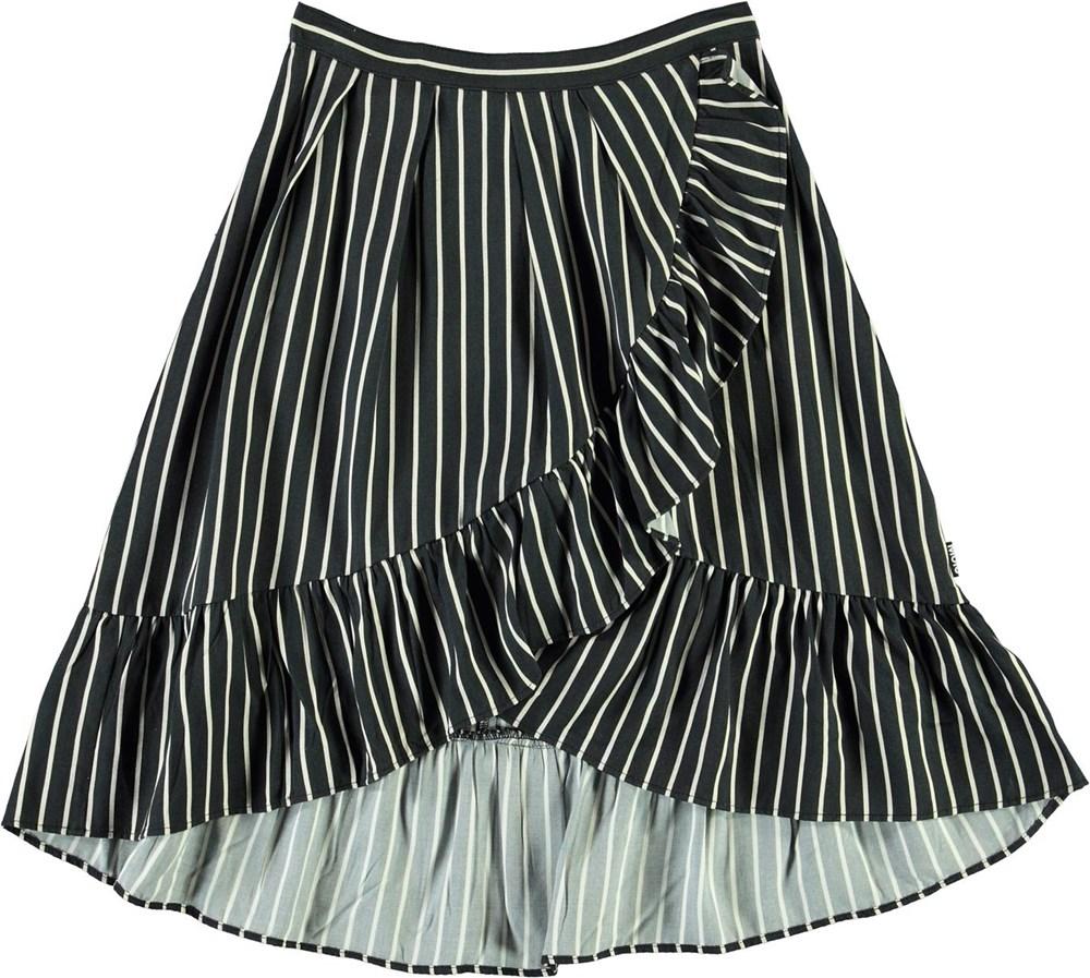 Blondie - Vertical BW Stripe - Striped wrap-around skirt