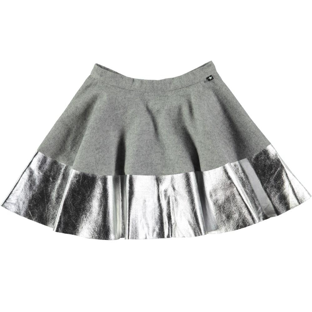 Bonita - Grey Melange - grey skirt with a silver edge