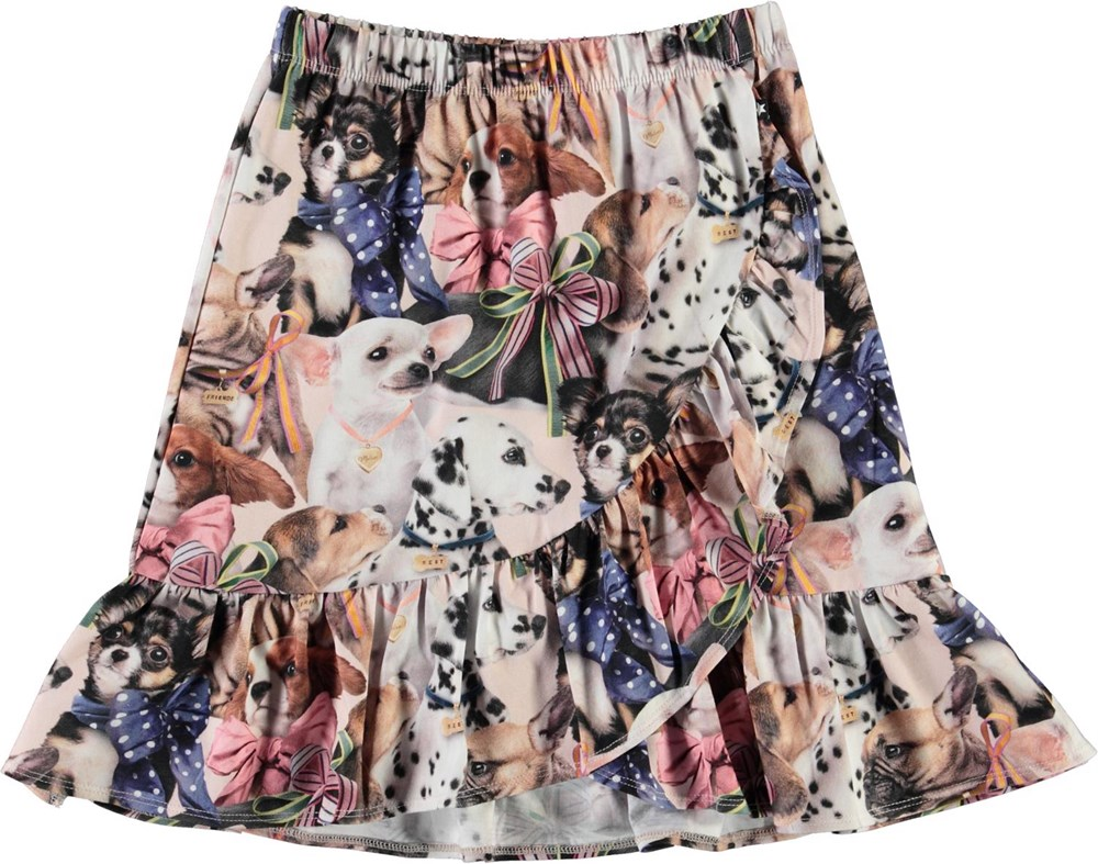 Bradie -  Puppy Love - Organic wrap-around skirt with dogs