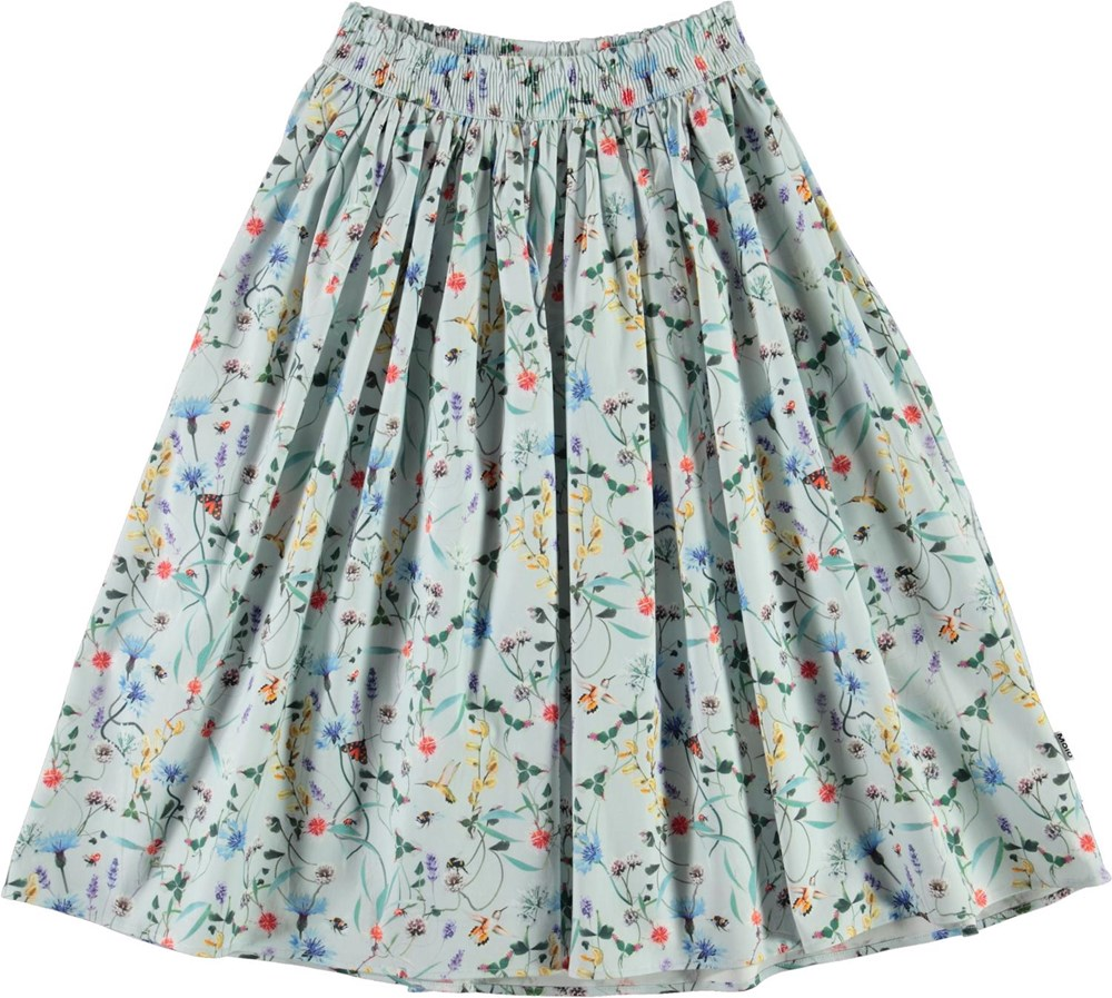 Bree - All Small Things - Light blue organic skirt with flowers