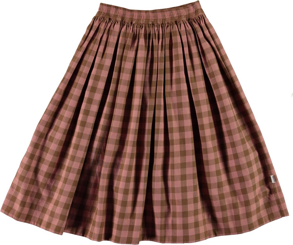 Bree - Autumn Check - Pink and brown plaid skirt