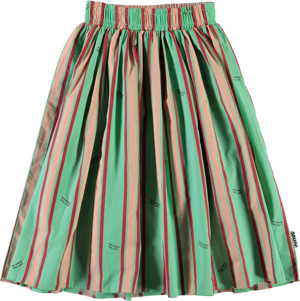 Bree - One World Stripe - Green organic skirt in rose and red