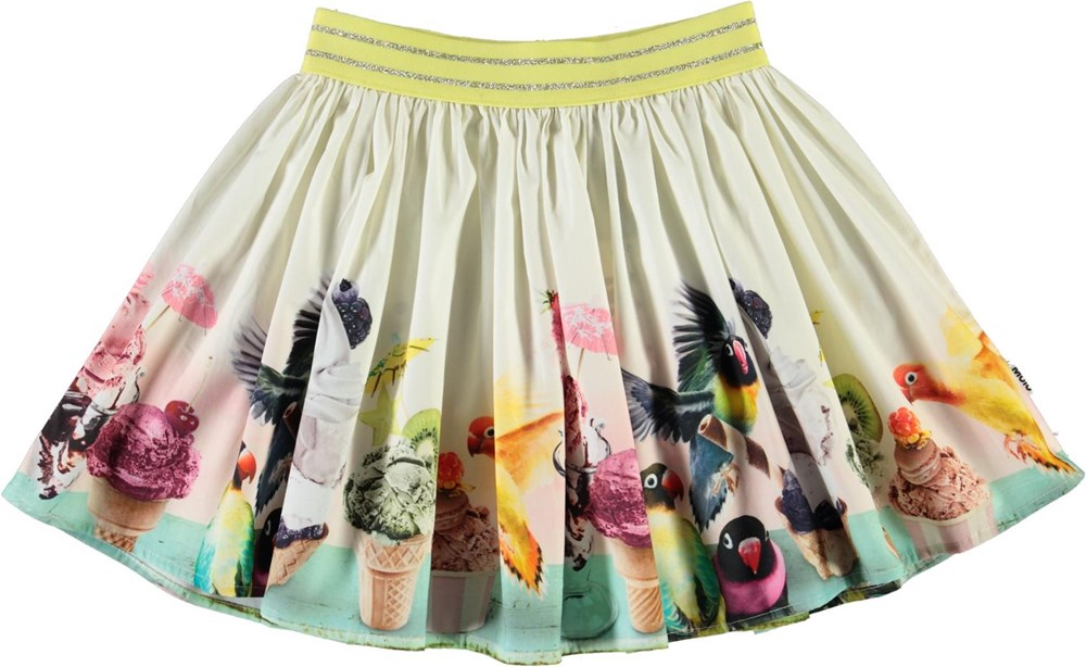 Brenda - Ice Ice Birdie - Organic skirt with birds and ice cream