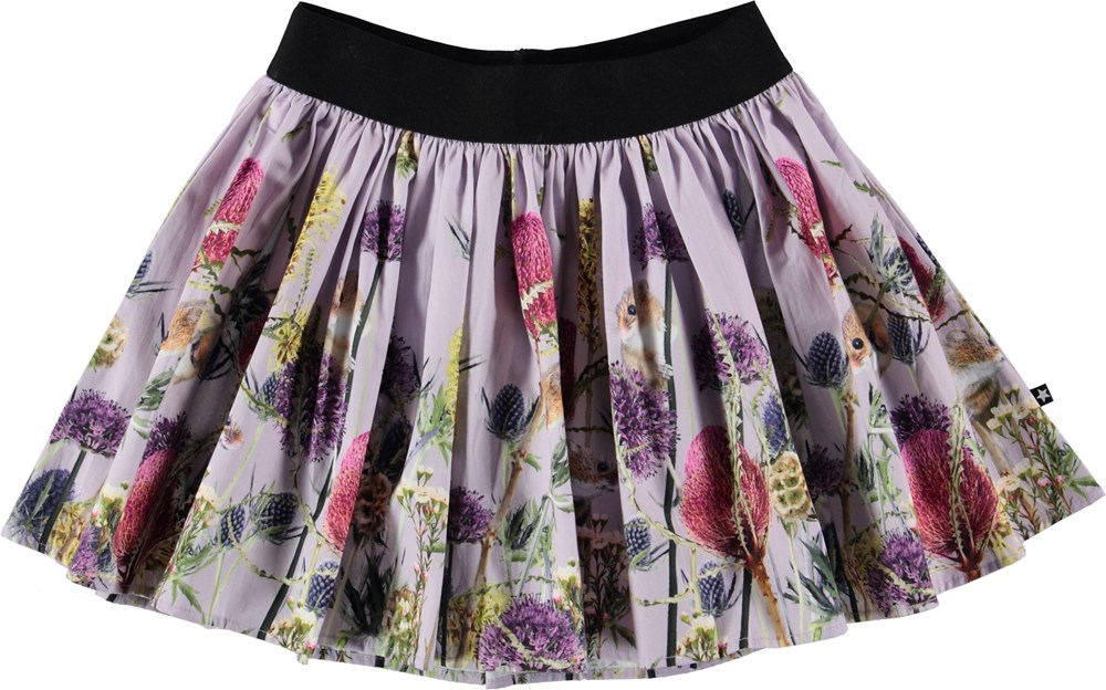 Brenda - Little Mice - Purple skirt with flowers and mice.