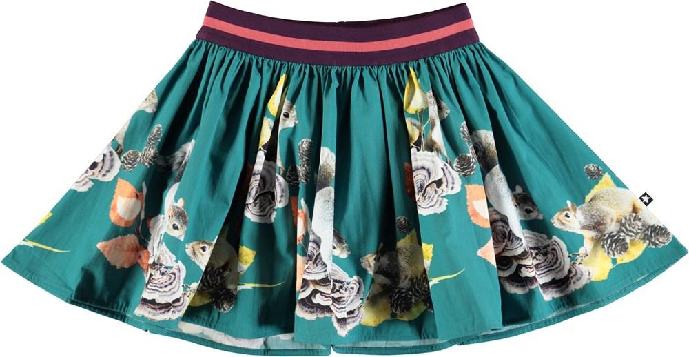 Brenda - Playful Squirrels - Green skirt with digital squirrel print