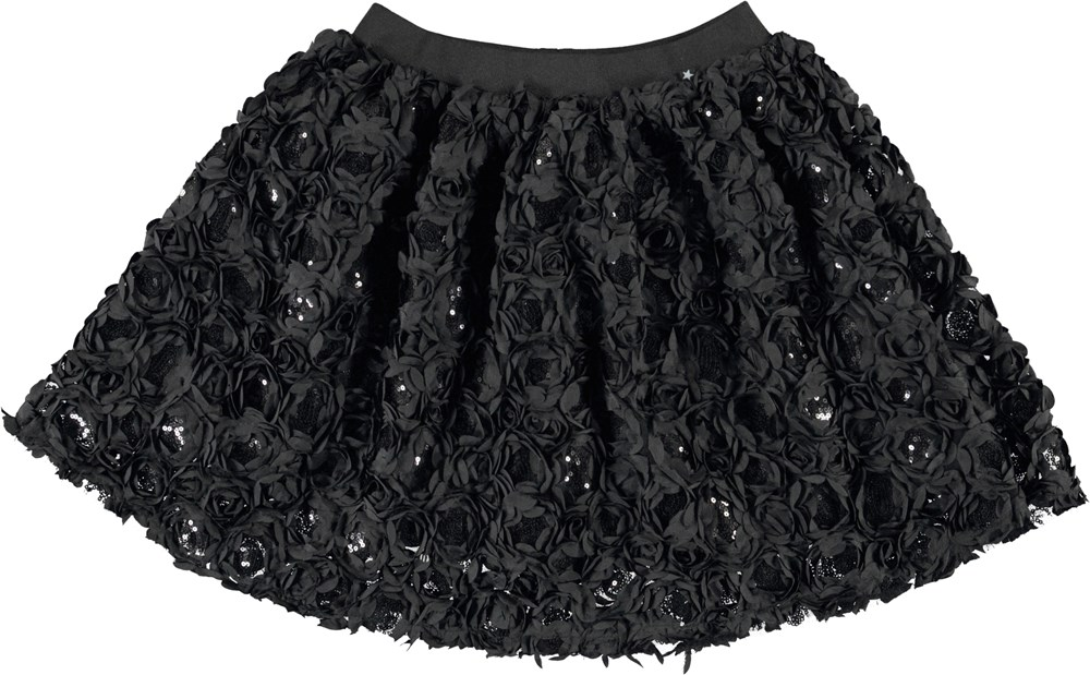 Brickly - Black - Black skirt with flowers and sequins