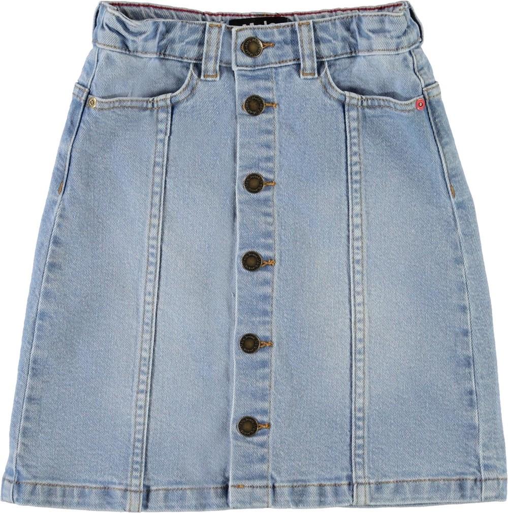 Britney - Summer Tint - Blue denim skirt with button closure