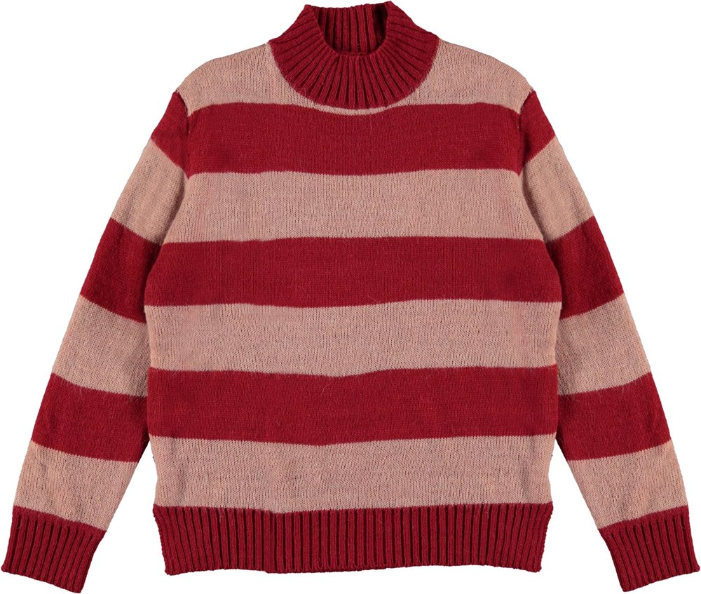 Gady - Chili Rose Stripe - High neck knit top in red and pink