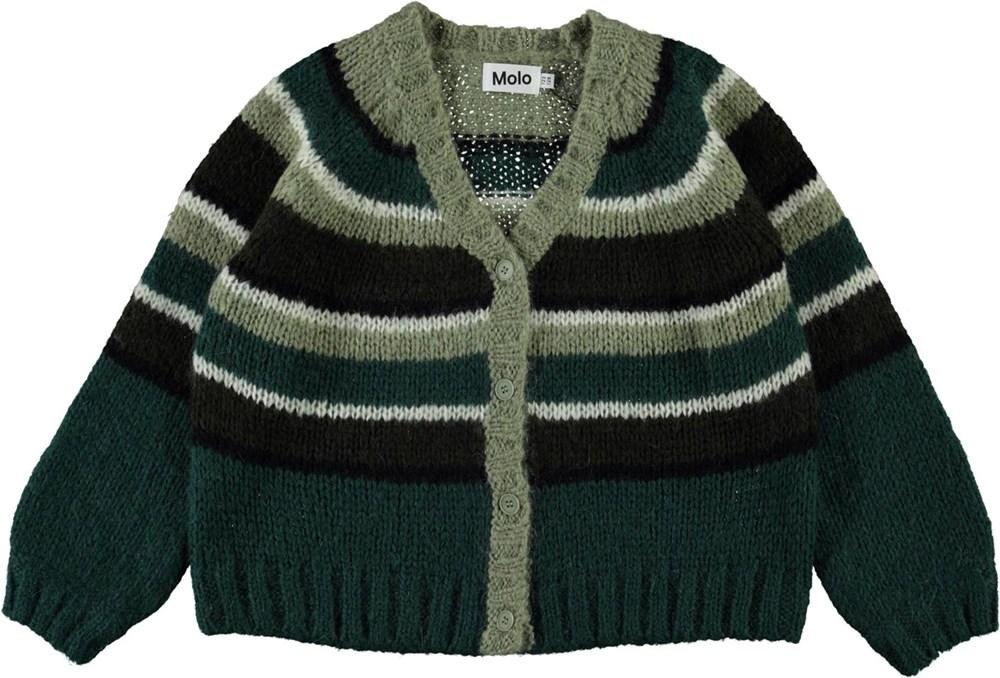 Gail - Ivy Green - Green striped knit cardigan