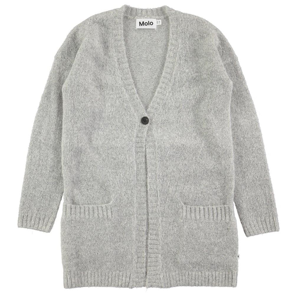 Gemma - Grey Melange - Long, grey wool cardigan