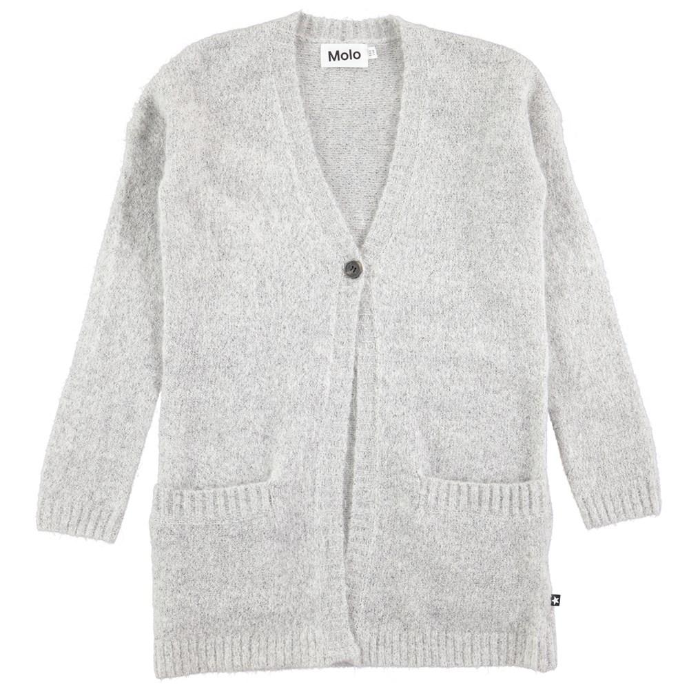 Gemma - Grey Melange - long grey cardigan