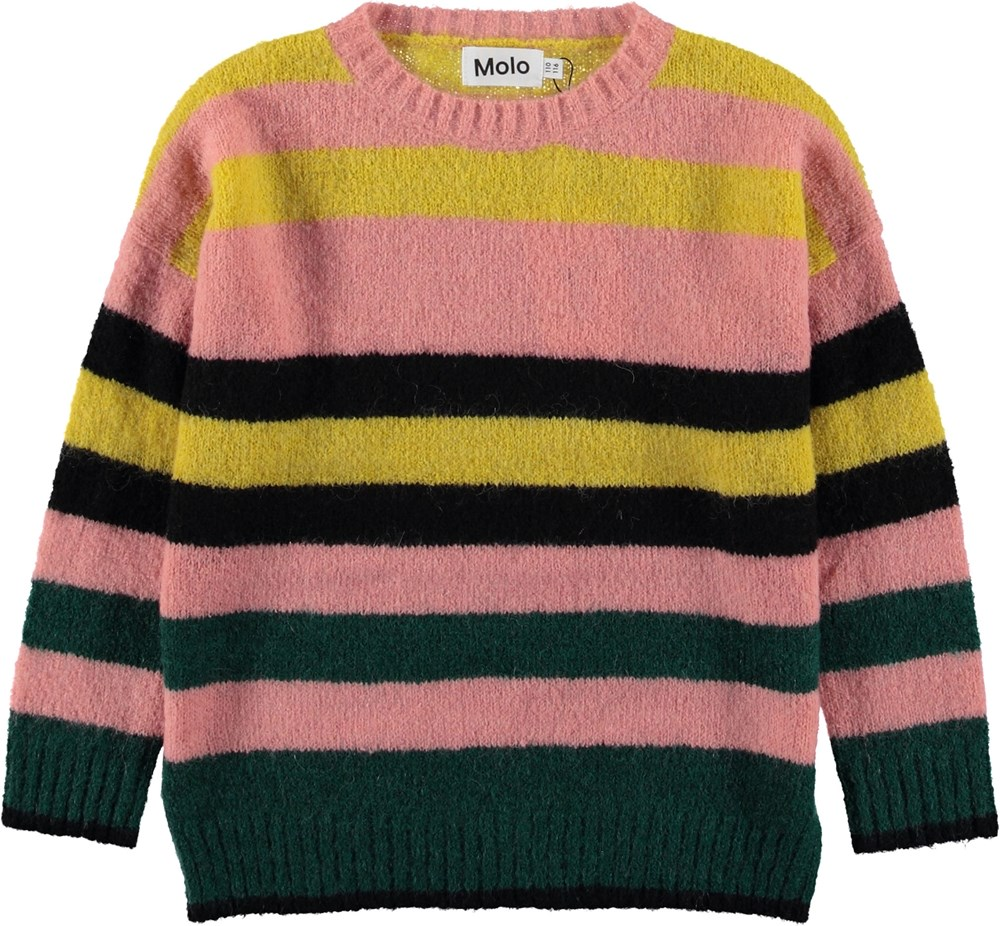 Geneen - Iregular Stripe - Rose knit top with stripes.