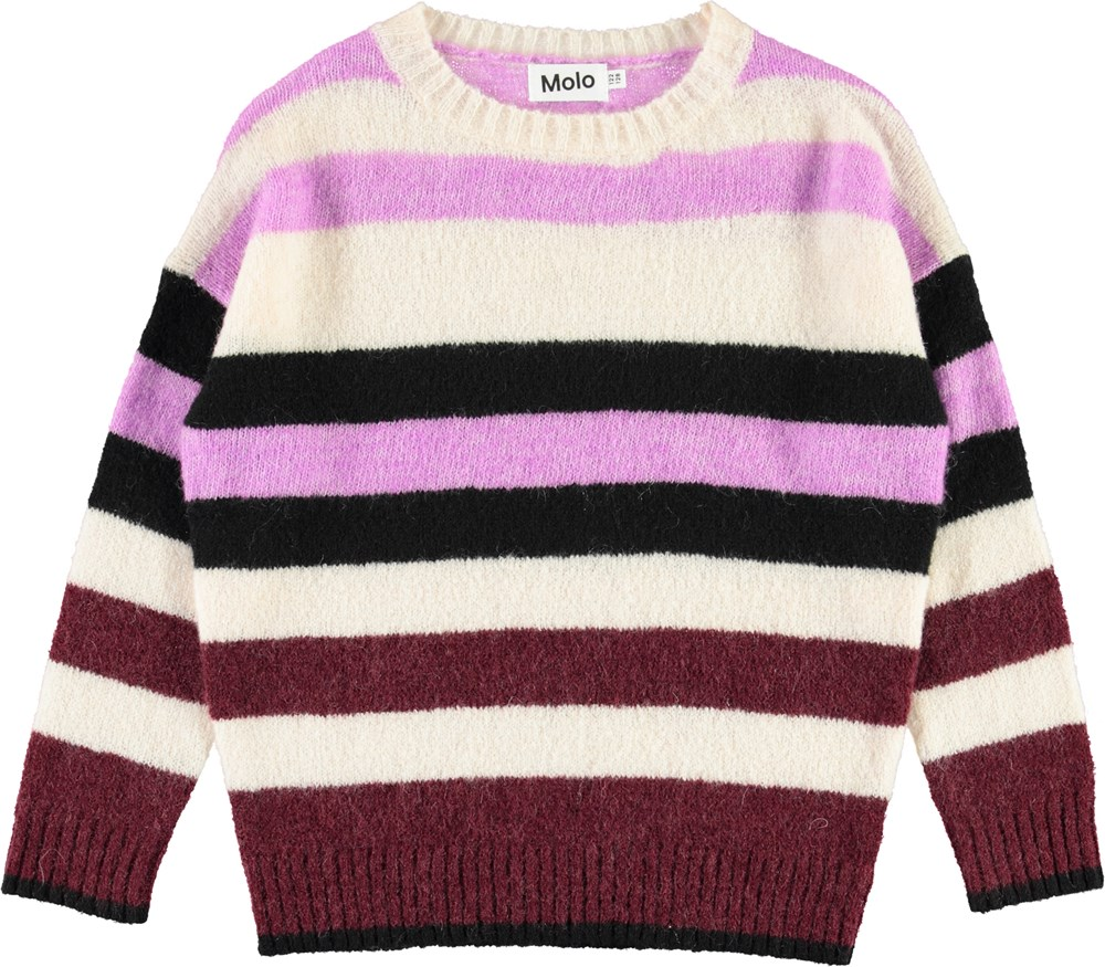 Geneen - Multi Stripes - Purple striped knit top