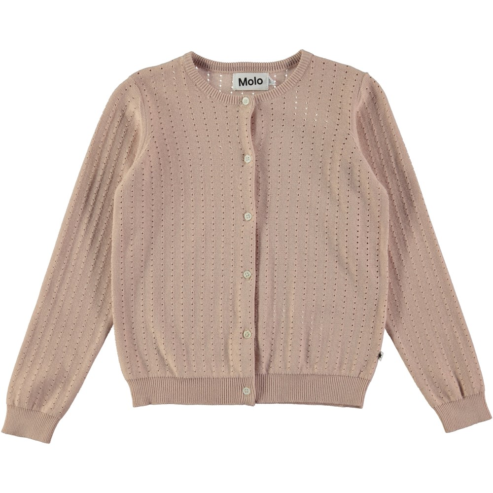 Georgina - Cameo Rose - rose coloured cardigan with a needle out pattern