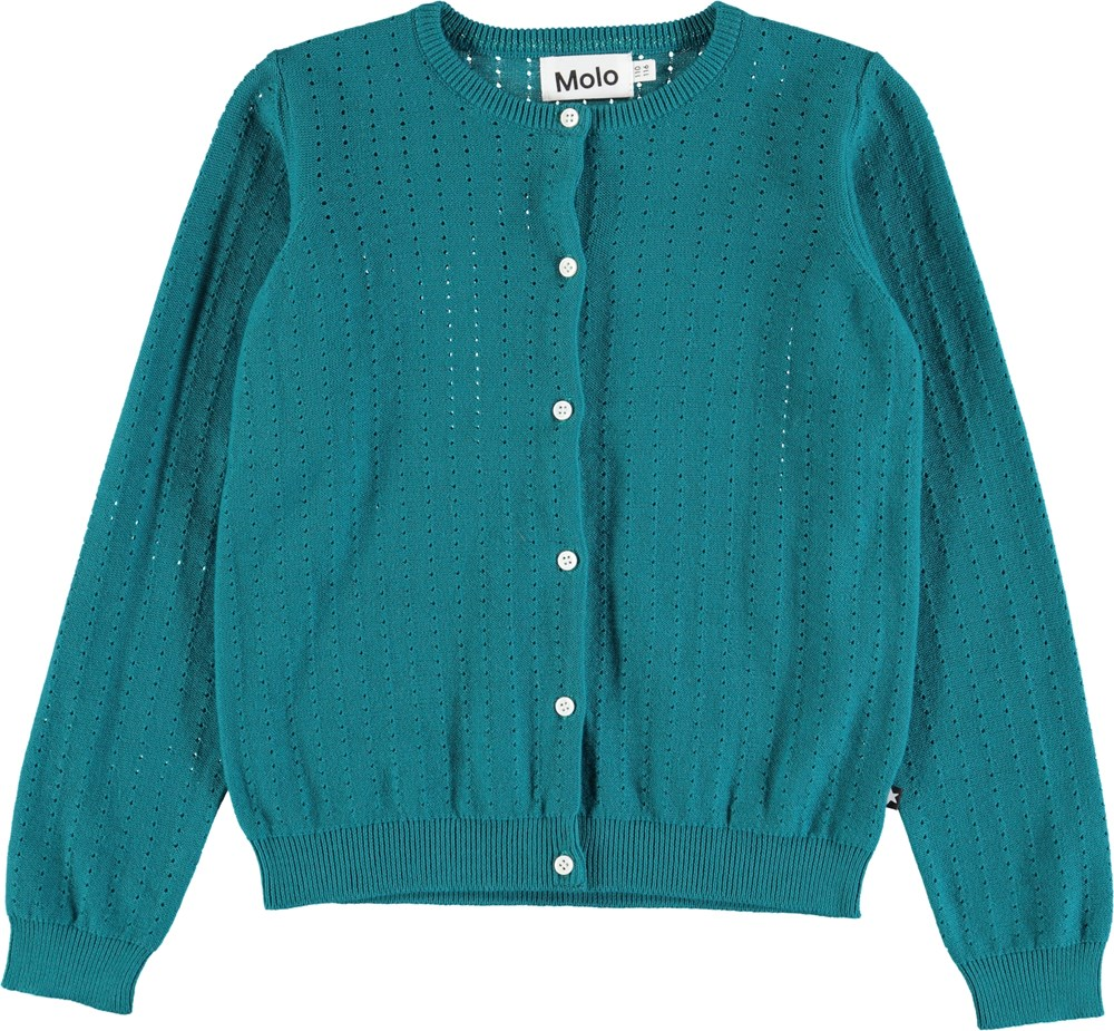 Georgina - Deep Sea - Blue-green cardigan with lovely needle out pattern