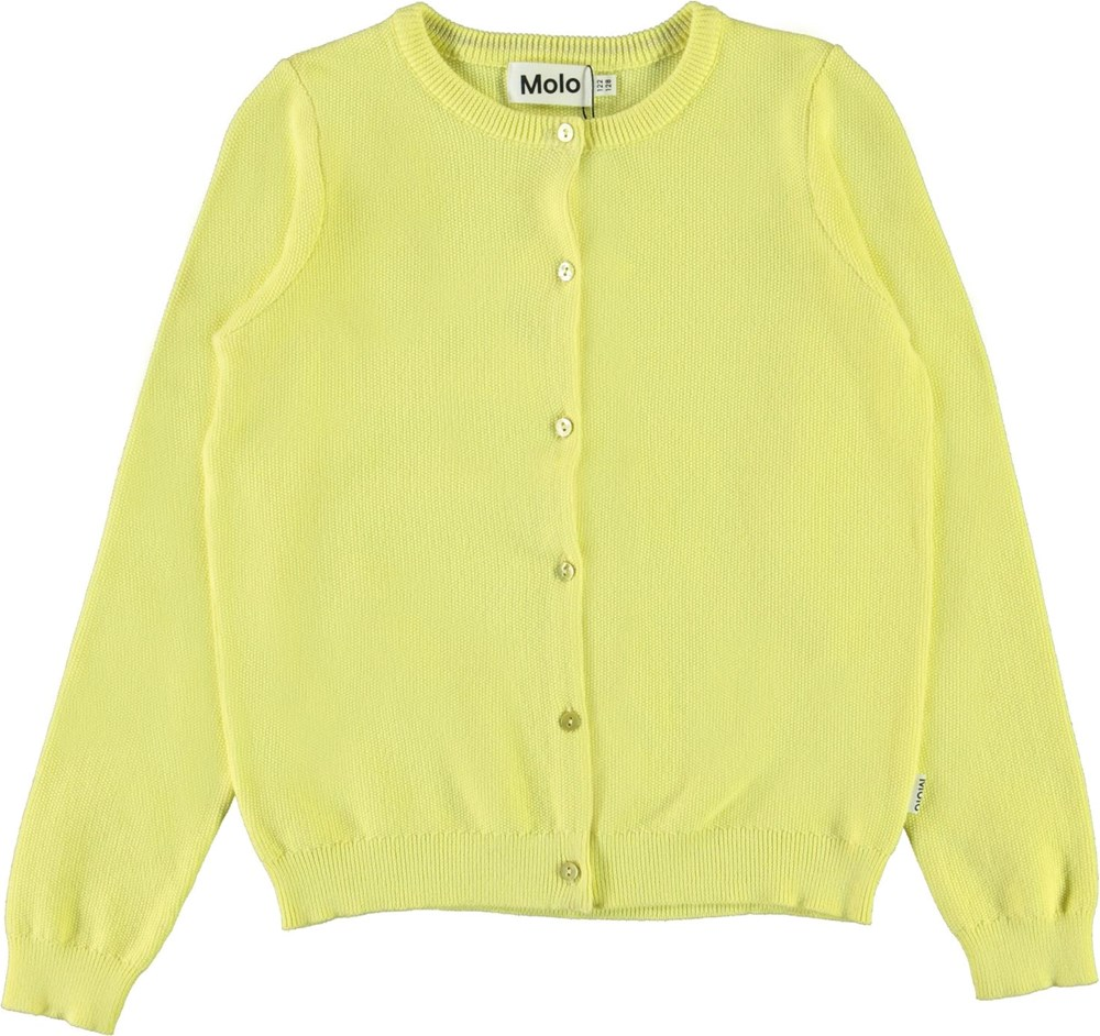 Georgina - Pale Lemon - Yellow cotton cardigan