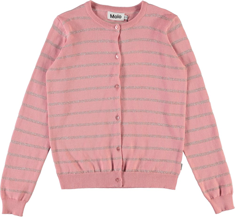 Georgina - Rosequartz - Pink and silver striped cardigan