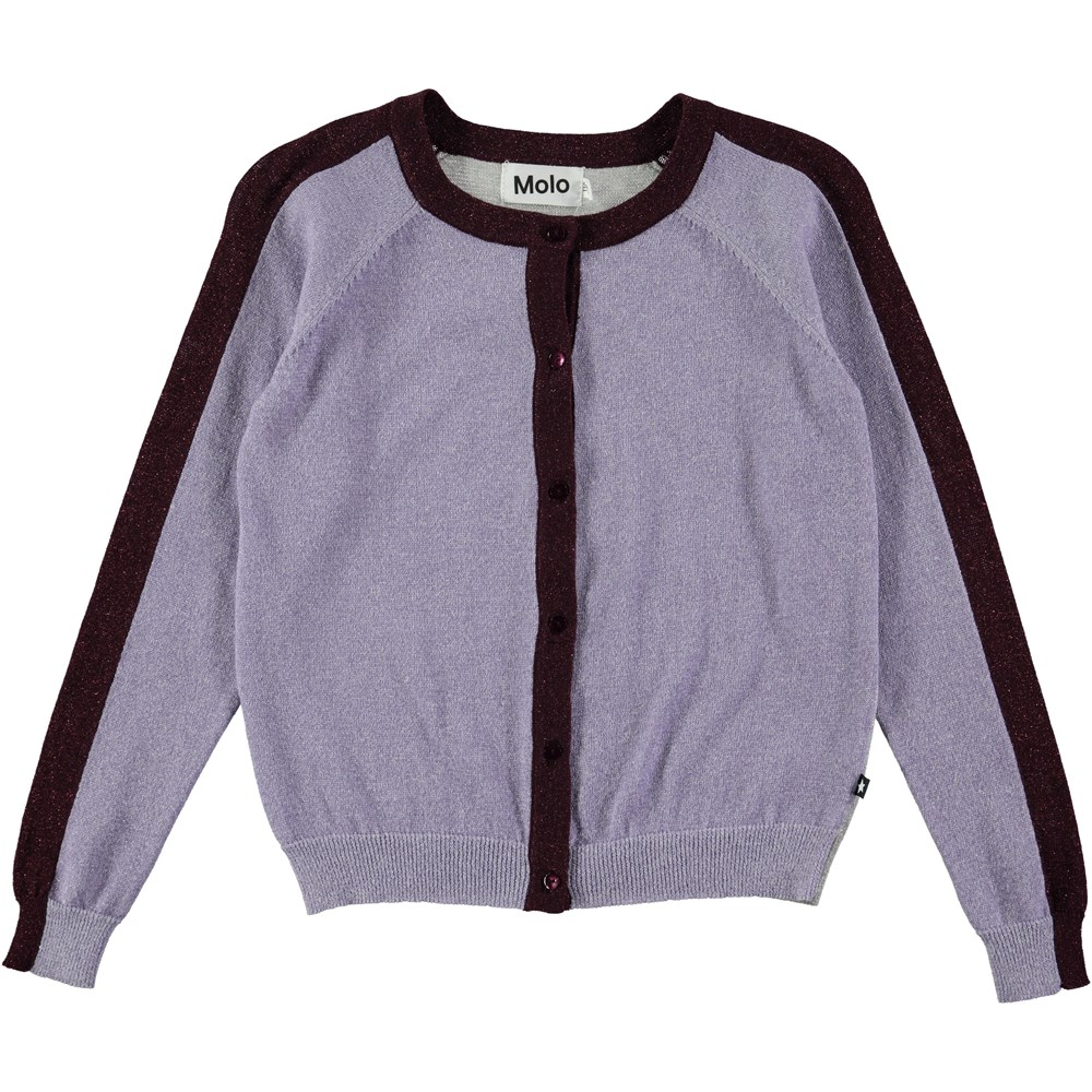 Geraldine - Forestberry - block coloured knit cardigan in purple, grey and bordeaux