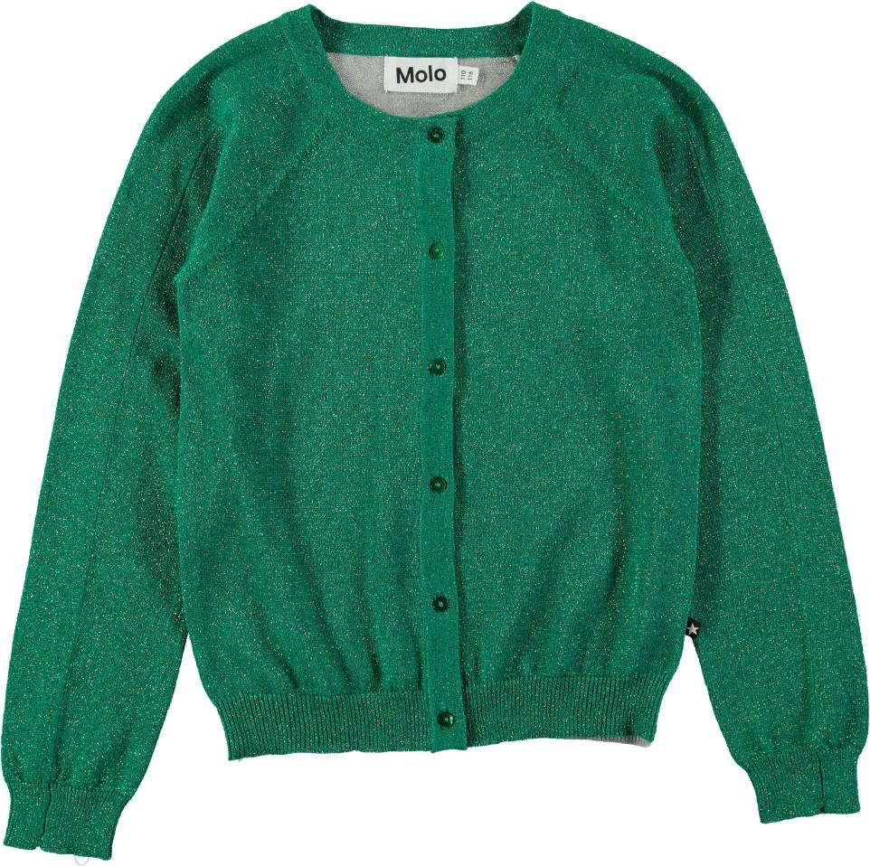 24649922 Geraldine - Ultra Green - Glitter cardigan in green and grey - Molo