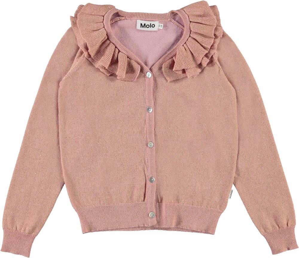 Gerdis - Rosequartz - Rose knit cardigan with glitter and ruffle collar