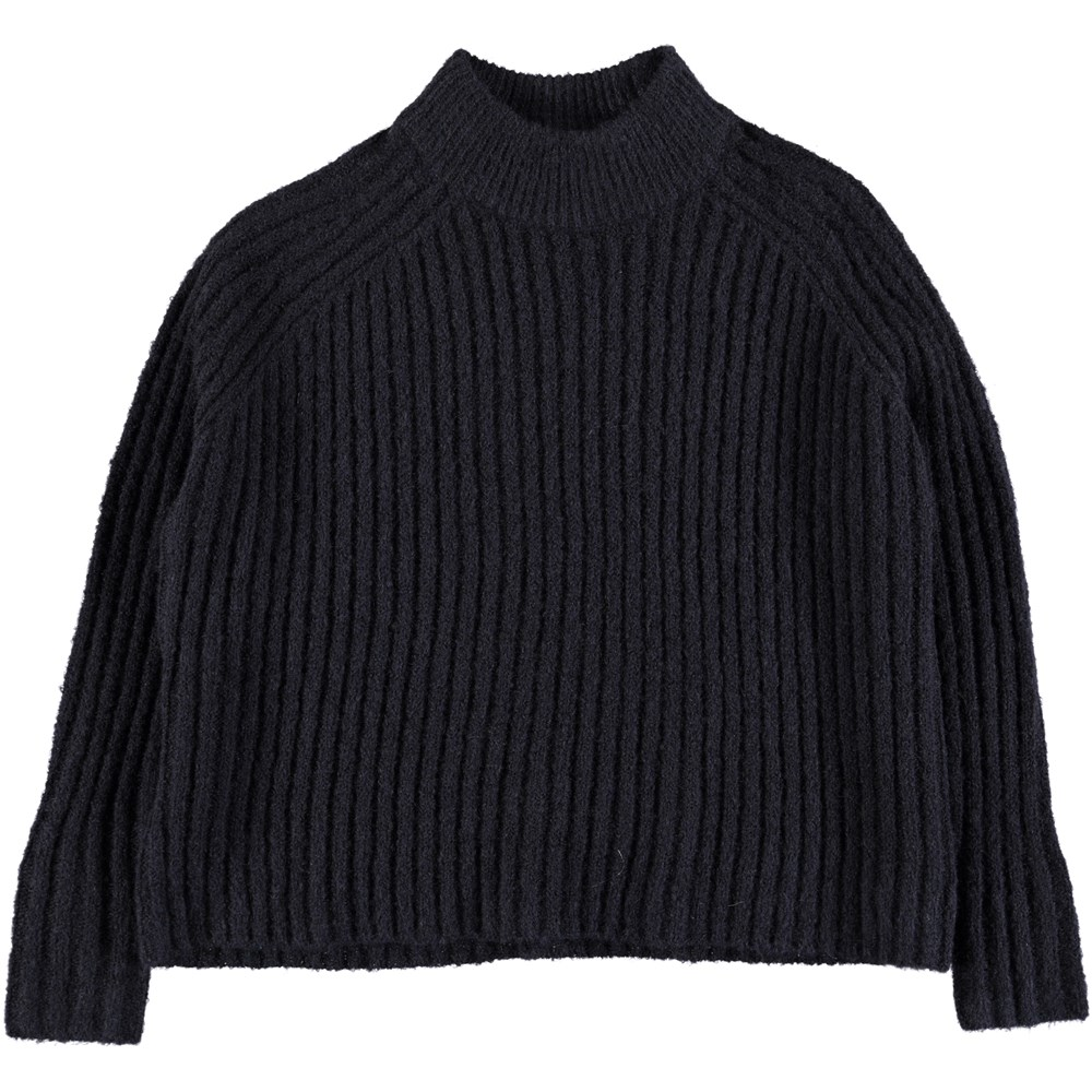 Gertrude - Dark Navy - Dark blue cropped knit