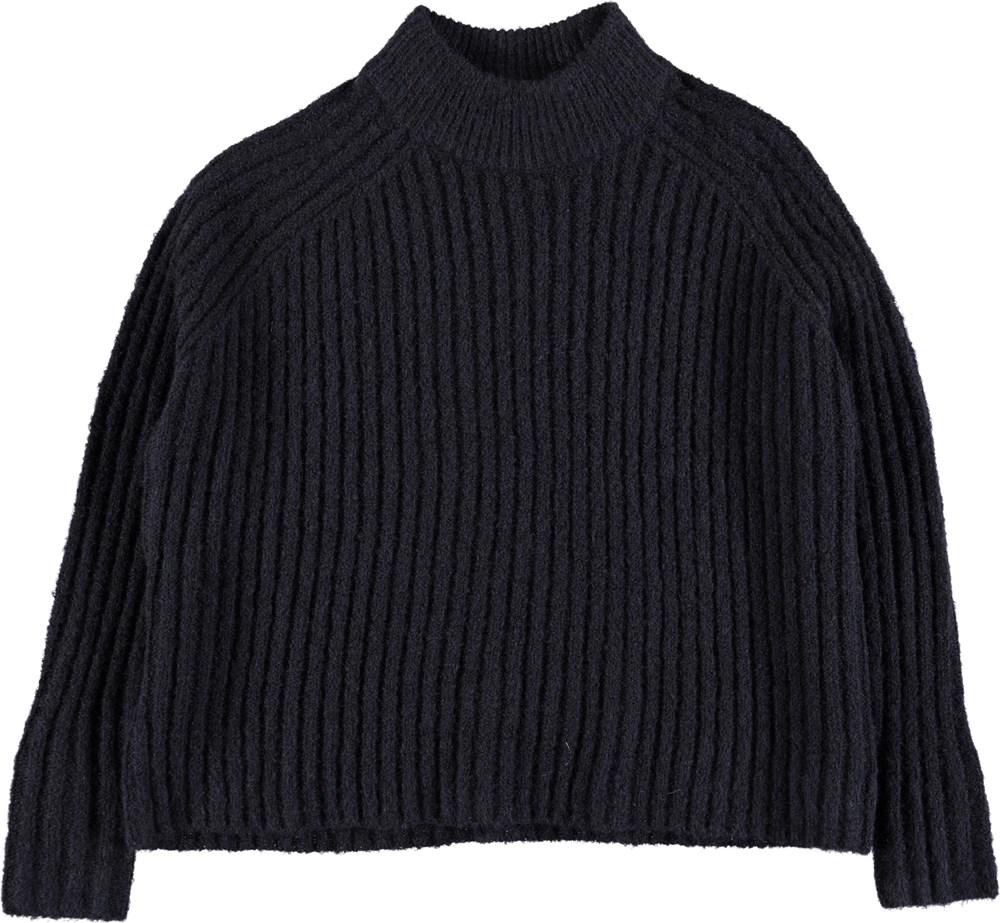 Gertrude - Dark Navy - Dark blue cropped knit
