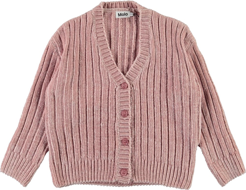 Gianna - Blue Pink - Chenille knit cardigan in pink