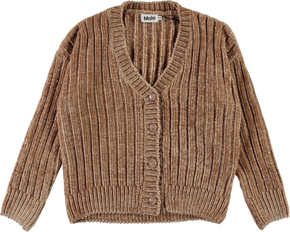 Gianna - Doeskin - Chenille knit cardigan in brown