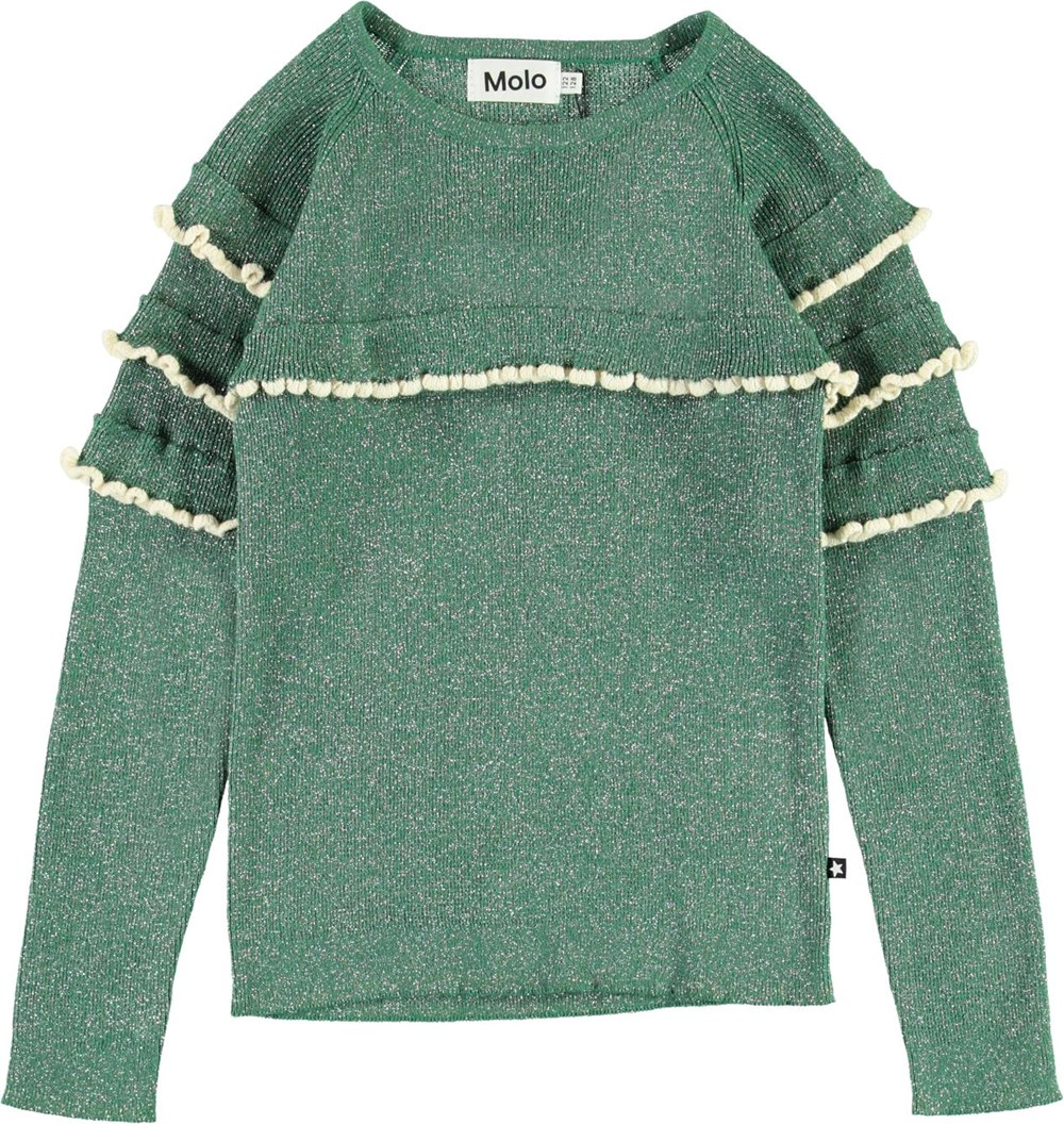 Gilah - Moonlight Leaf - Green glitter top with ruffles