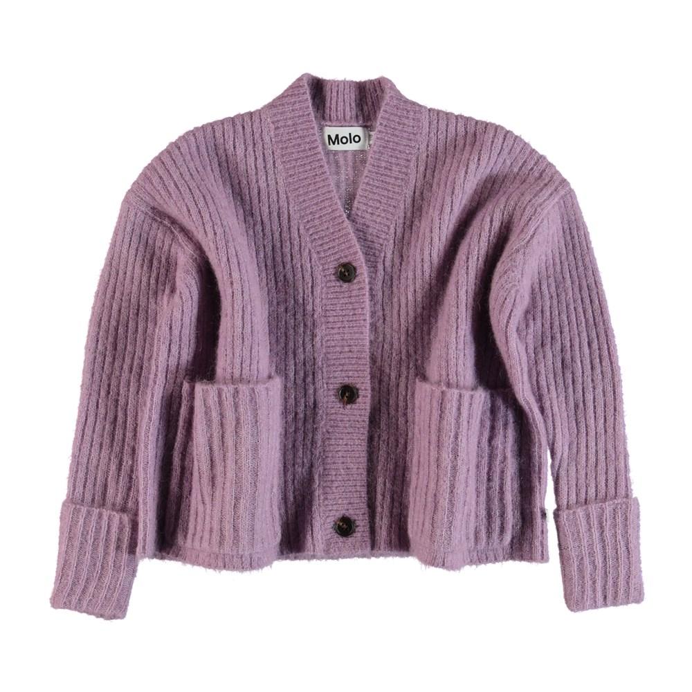 Gilberta - Alpine Flower - Purple knit cardigan.
