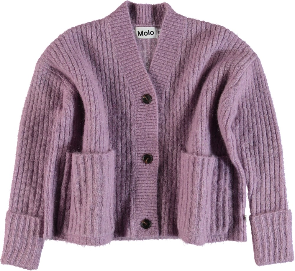 Gilberta - Alpine Flower - Purple knit cardigan.