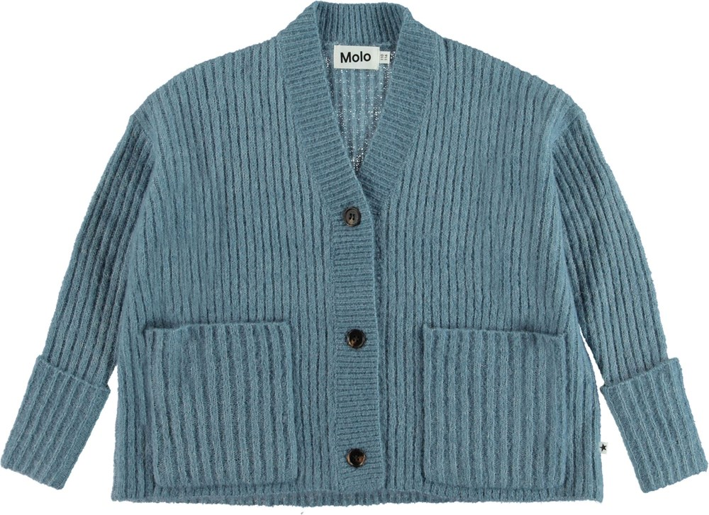 Gilberta - Winter Sky - Blue knit cardigan.