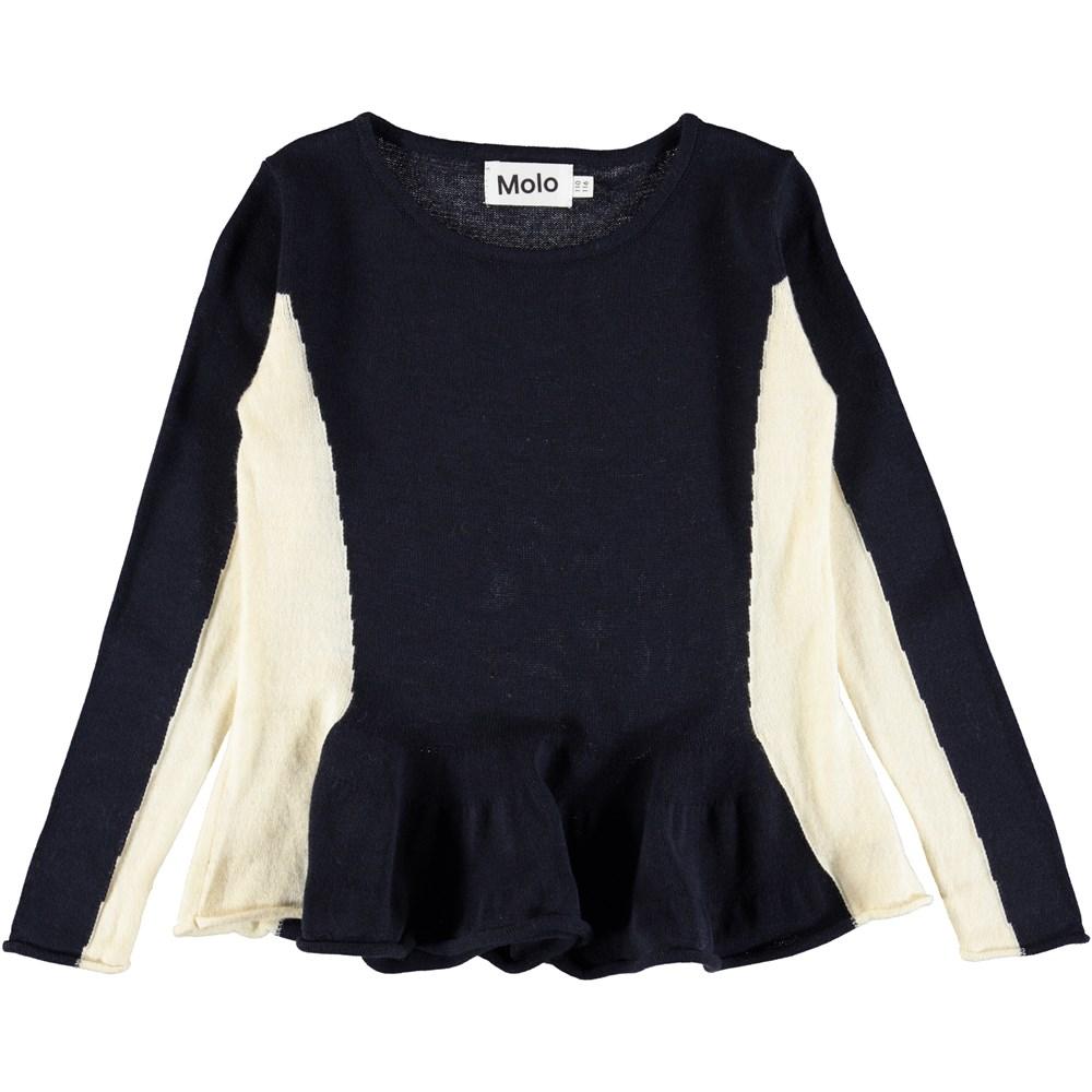 Gilda - Dark Navy - Dark blue knit top with peplum