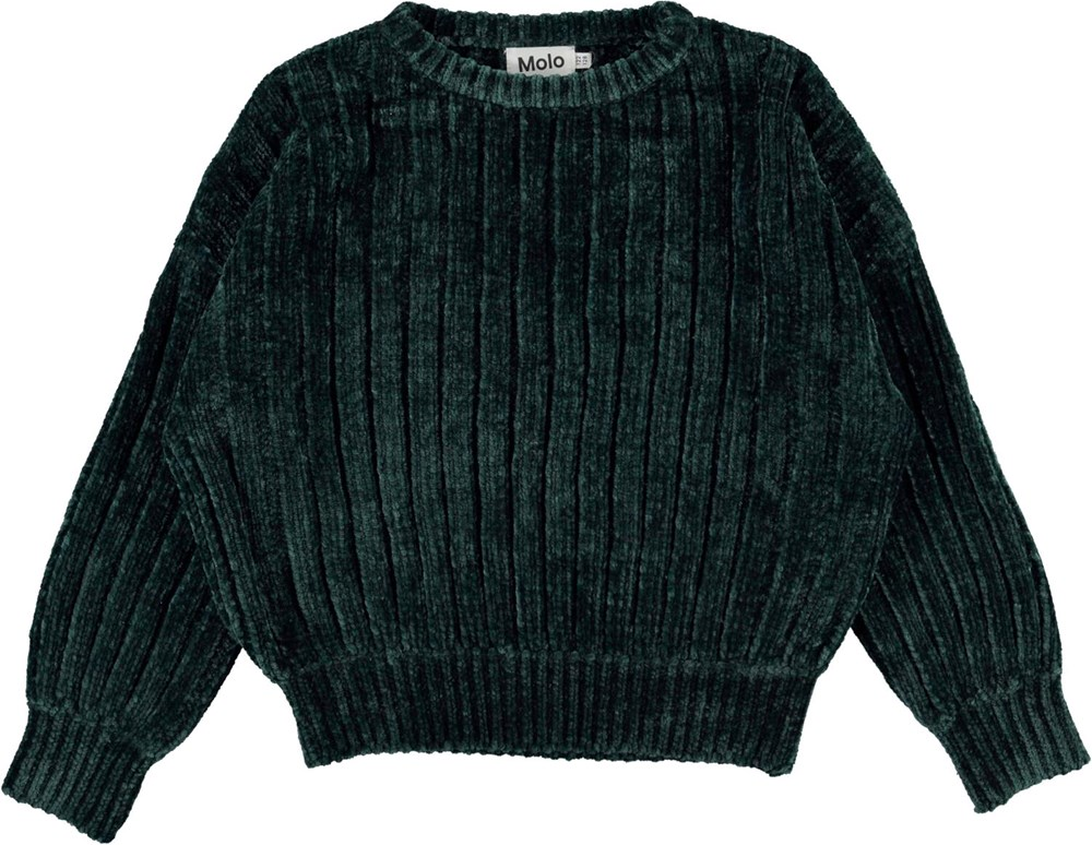 Gillian - Jasper - Dark green plush knit top