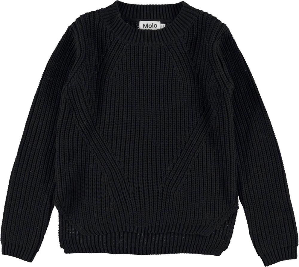 Gillis - Black - Black organic cotton knit top