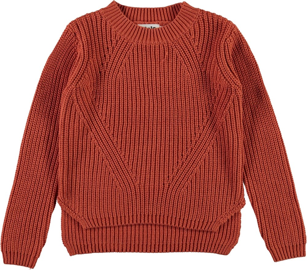 Gillis - Burnt Brick - Brown organic cotton knit top