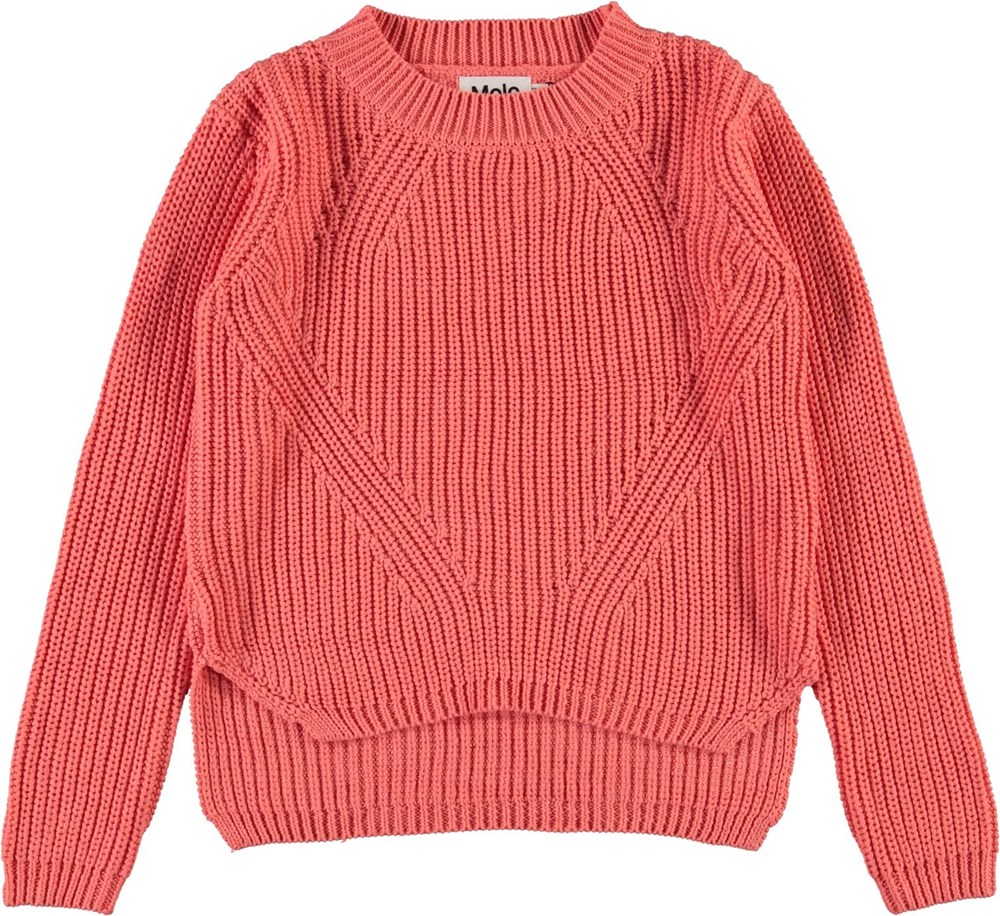 Gillis - Burnt Coral - Coral coloured cotton knit top