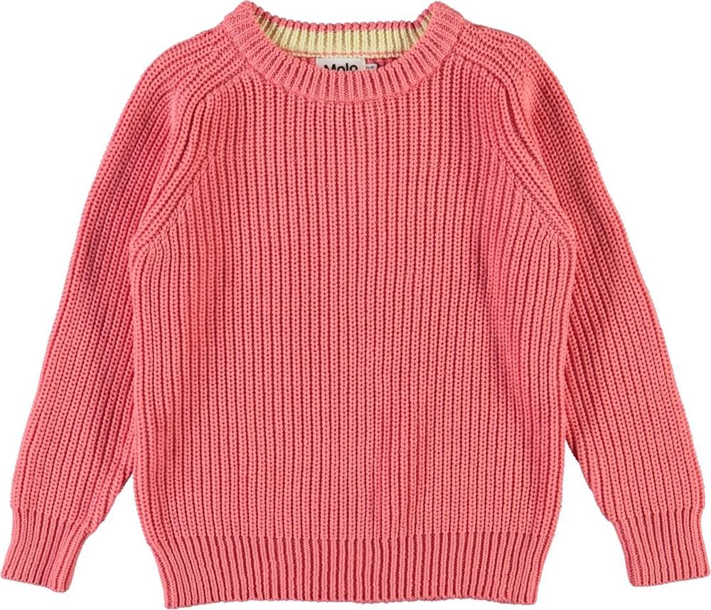 Gillis - Hyper - Pink cotton knit top