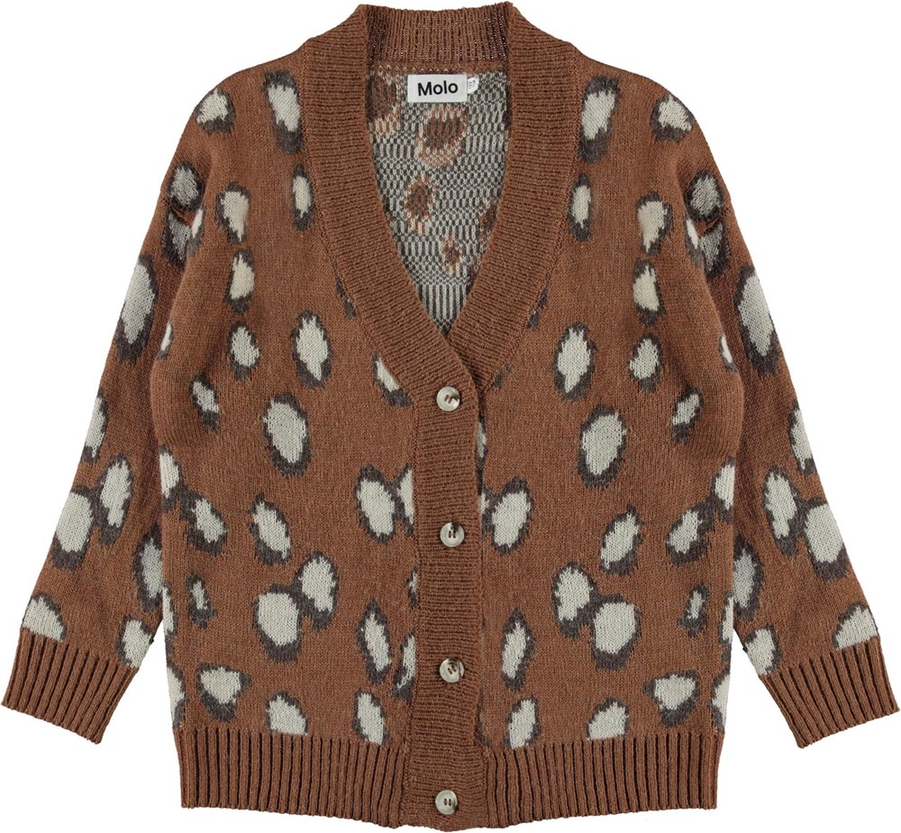 Gina - Graphic Deer - Brown knit cardigan with white spots