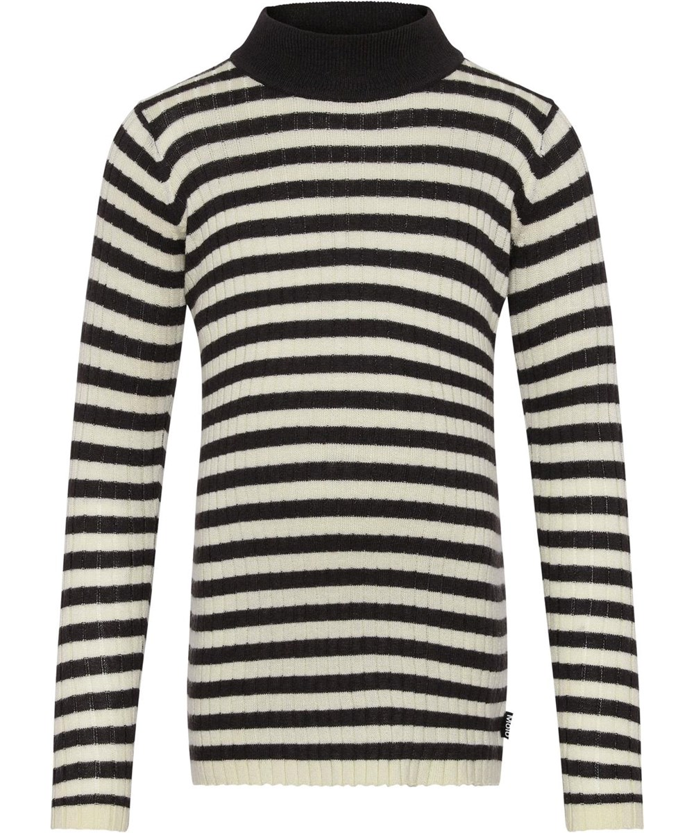 Gitte - Marzipanbrownstripe - Cashmere black and white striped knit