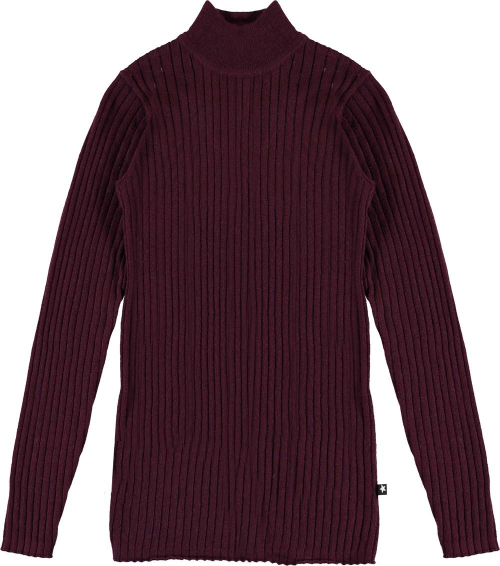 Gitte - Sumak - Dark red thin knit