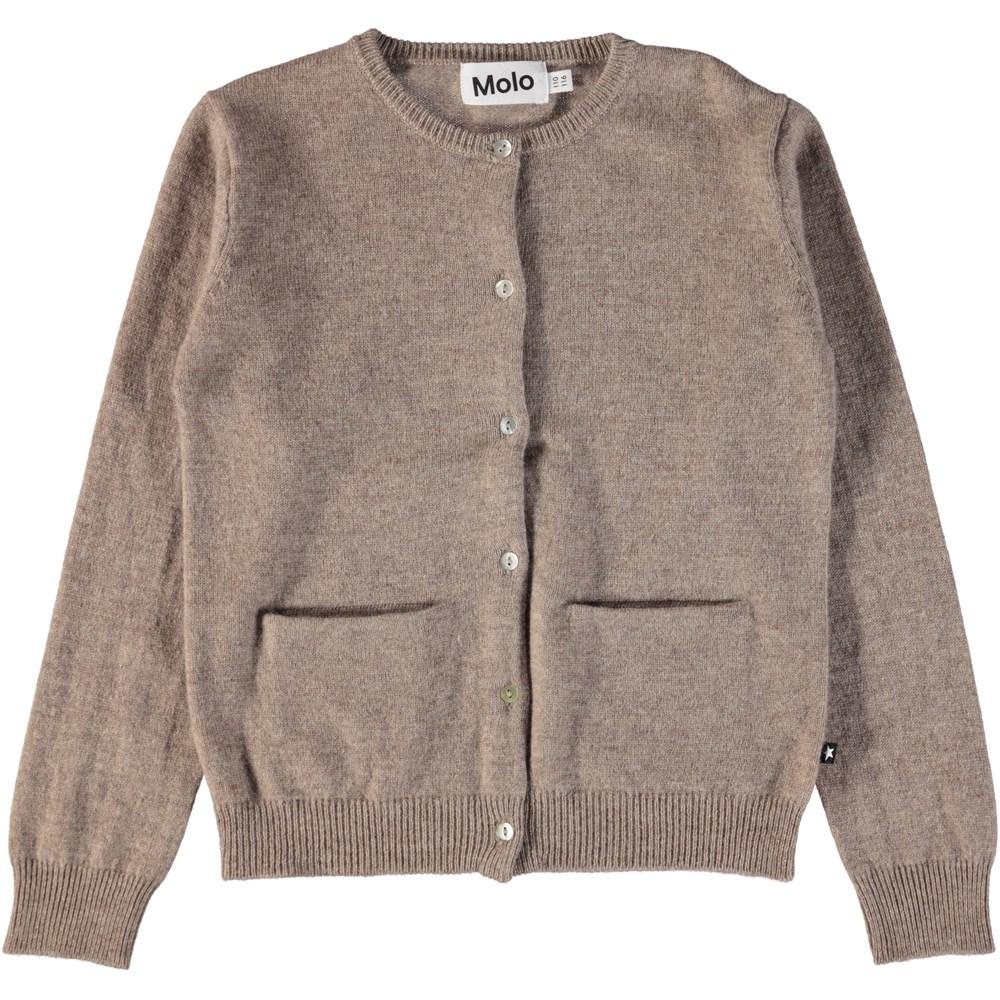 Glory - Oatmeal Melange - Brown melange cardigan in wool and cashmere
