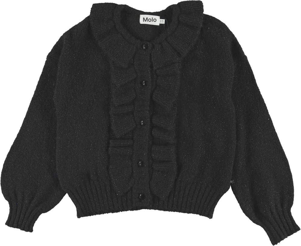 Gracie - Black - Black knit cardigan with glitter