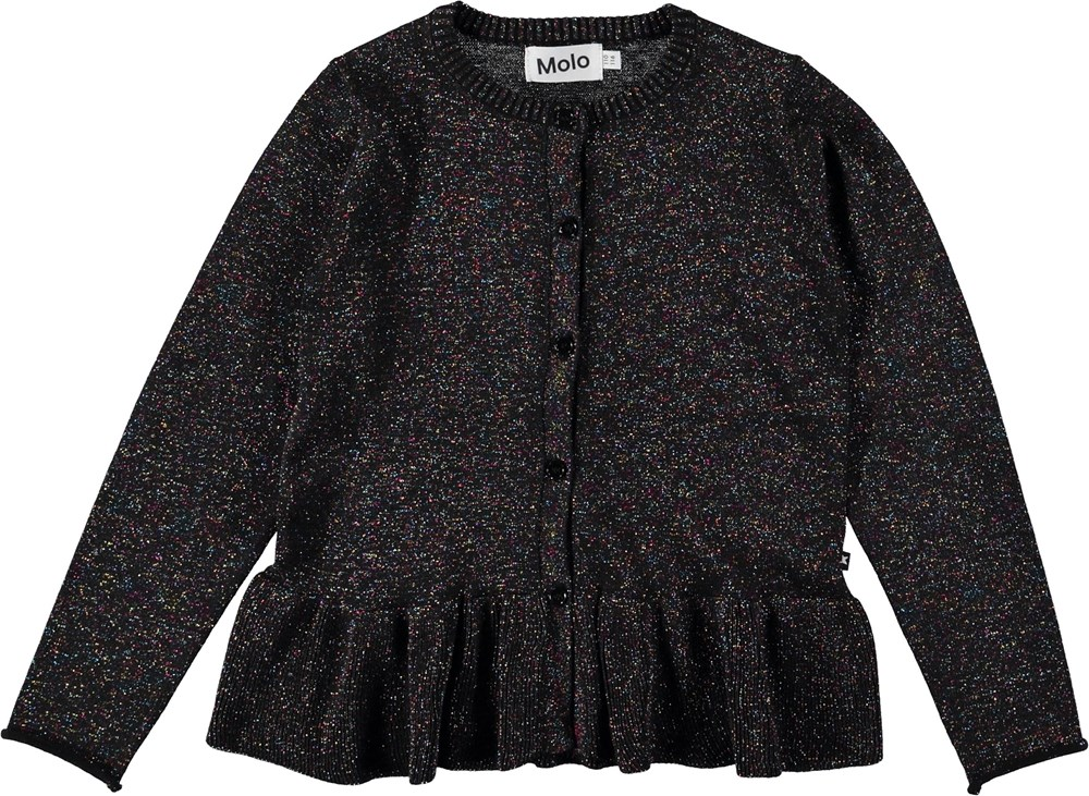 Gulia - Black - Black cardigan with glitter.