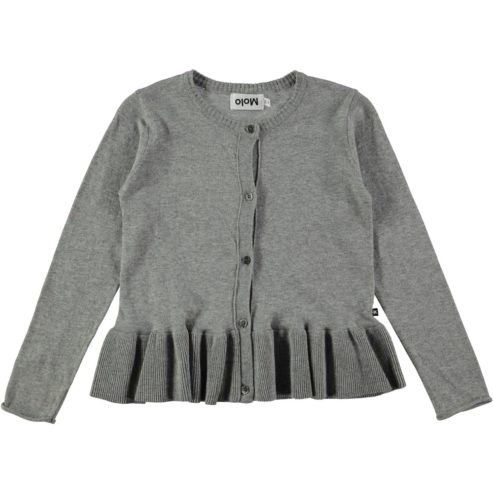Gulia - Grey Melange - long sleeve grey cardigan with skirt