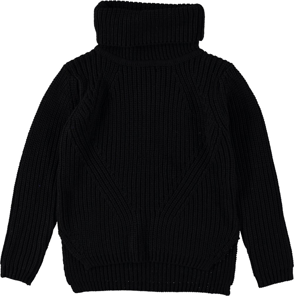 Gurly - Black - Black rollneck top.