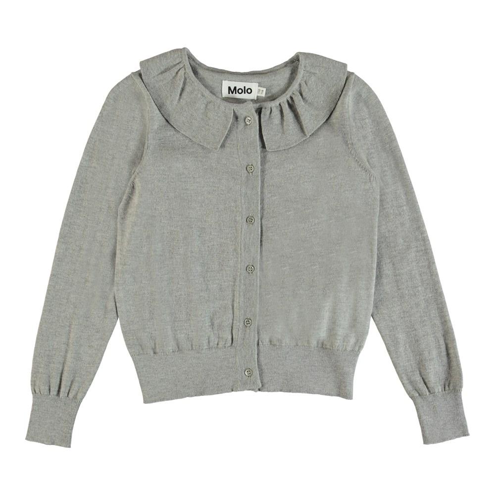 Gwen - Grey Melange - Classic grey knit cardigan.